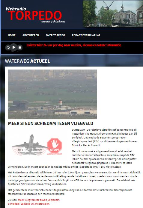 Torpedo-webradio over Rotterdam The Hague Airport